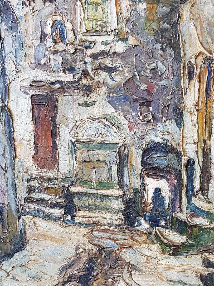 Tableau De René Le Forestier (1903-1972) La Fontaine De l'Escarène Près De Nice-photo-4