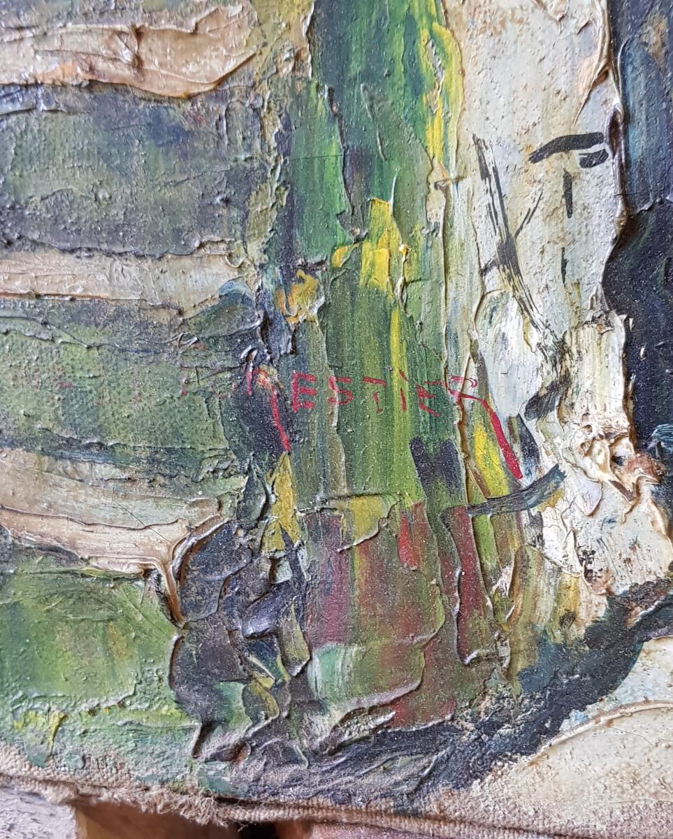 Tableau De René Le Forestier (1903-1972) La Fontaine De l'Escarène Près De Nice-photo-2