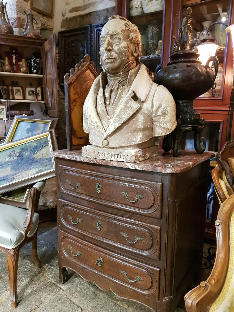 Antique Patinated Plaster Bust Louis Philippe Signed Comperot Dated 1837