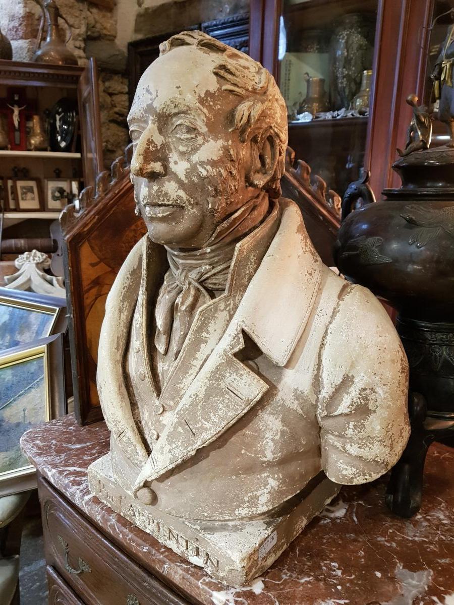 Buste En Platre Patiné Epoque Louis Philippe Signé Comperot Daté 1837-photo-2