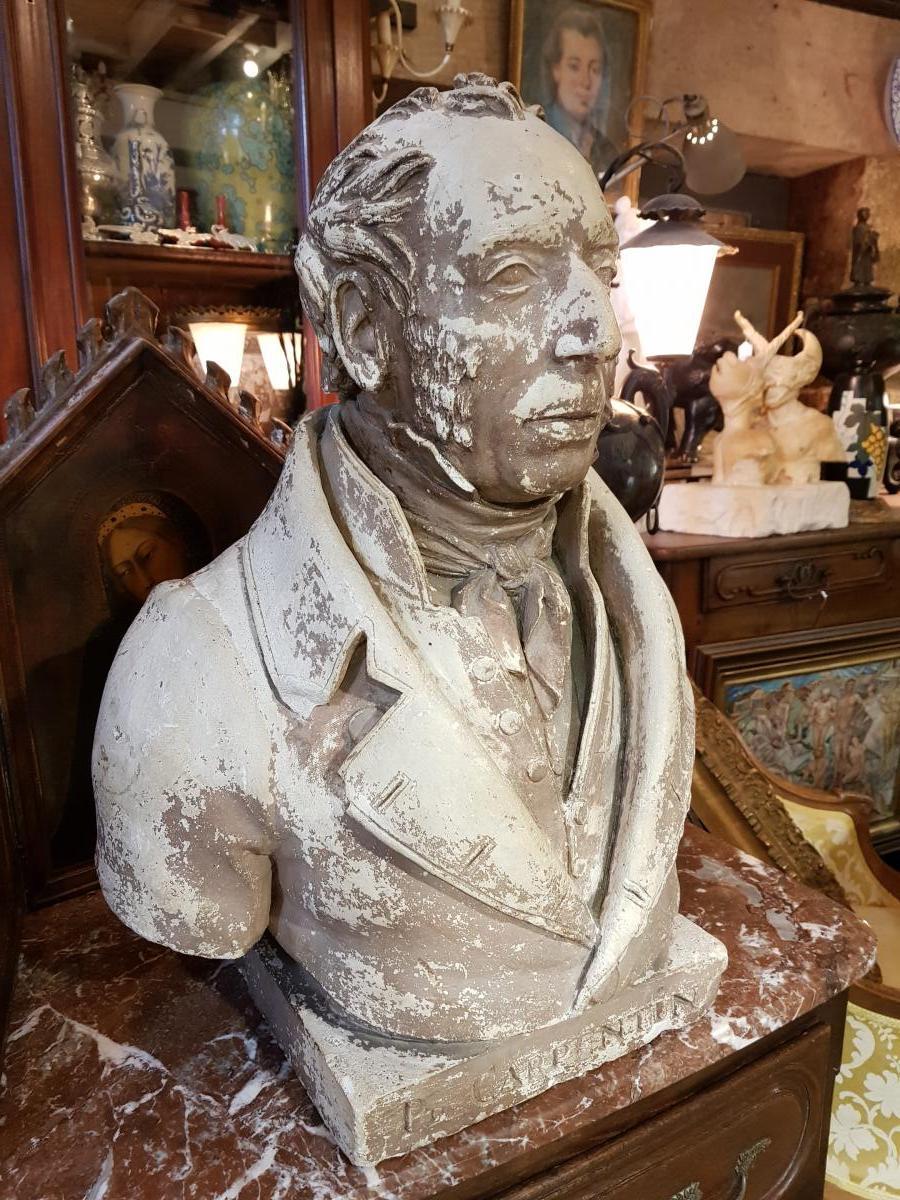 Buste En Platre Patiné Epoque Louis Philippe Signé Comperot Daté 1837-photo-3