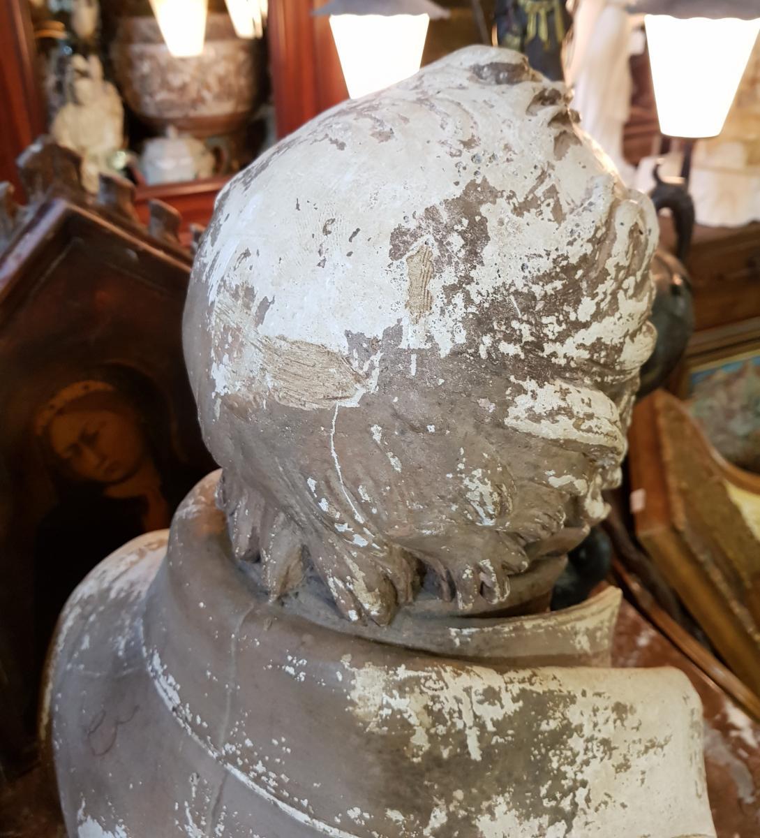 Buste En Platre Patiné Epoque Louis Philippe Signé Comperot Daté 1837-photo-4