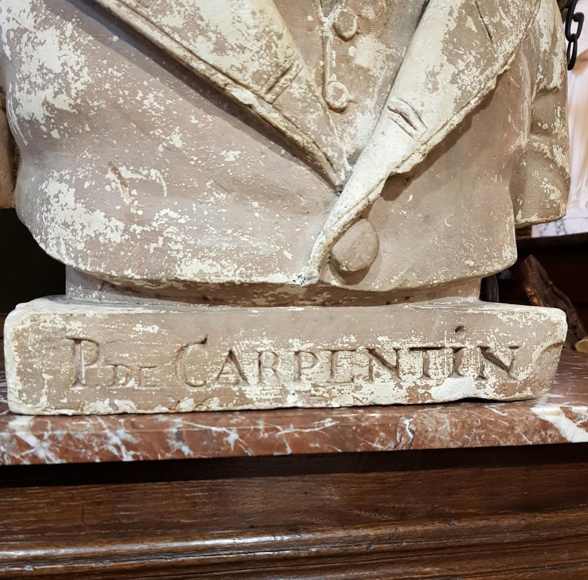 Buste En Platre Patiné Epoque Louis Philippe Signé Comperot Daté 1837-photo-1