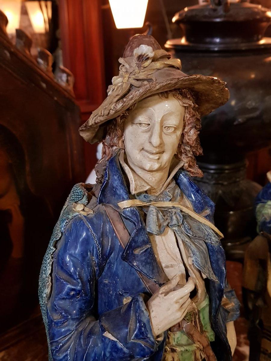Paire De Statues Signées Achille Barbizet d'Après Palissy Couple Italiens-photo-2
