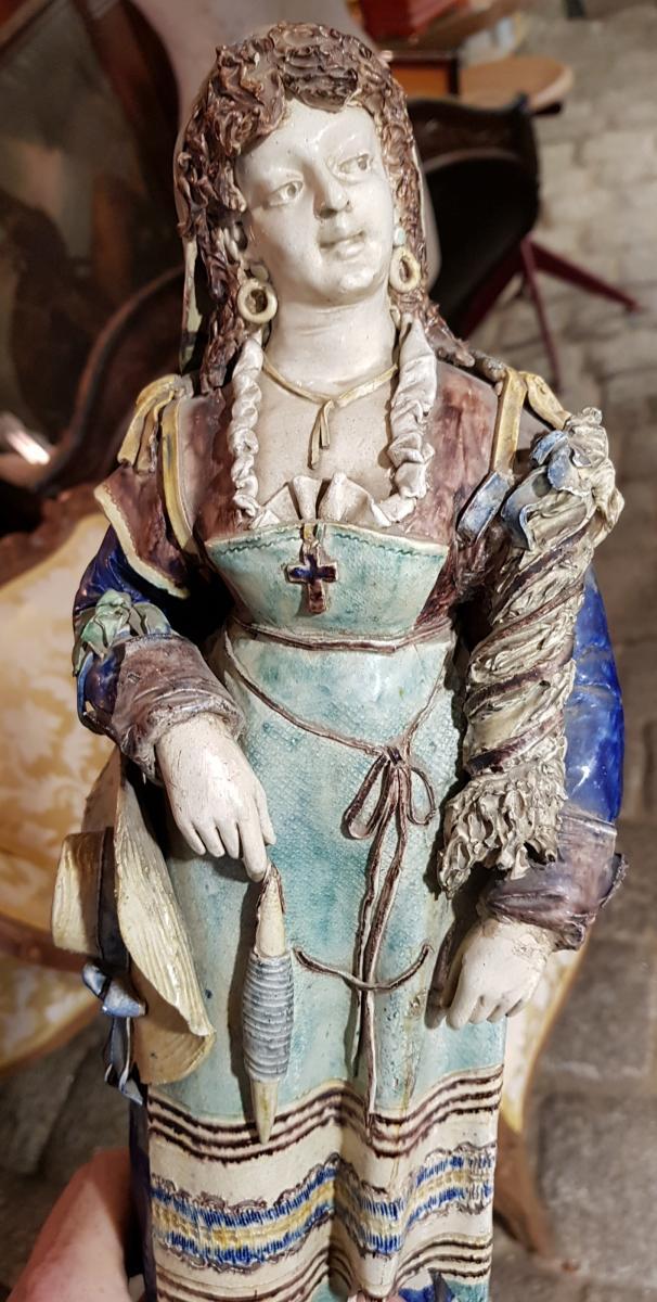 Paire De Statues Signées Achille Barbizet d'Après Palissy Couple Italiens-photo-3