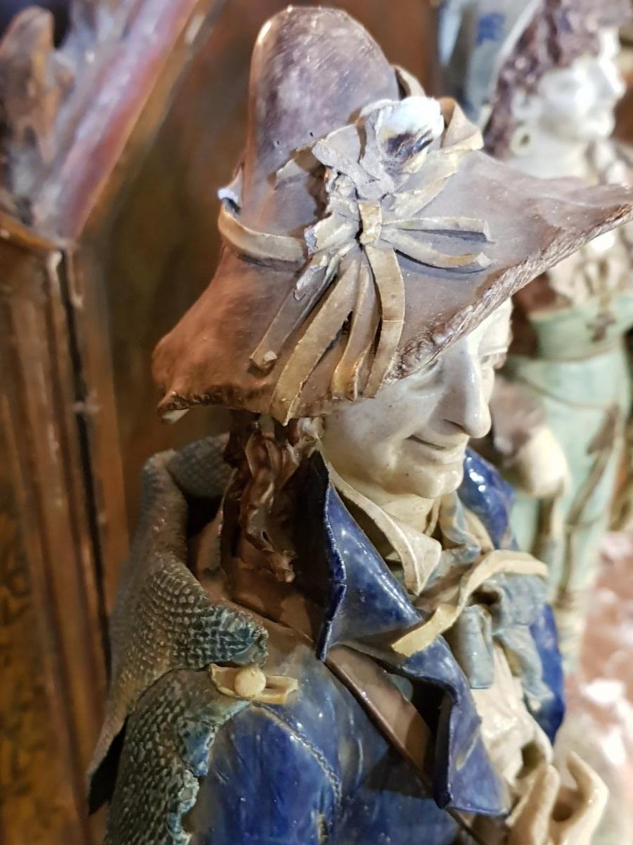 Paire De Statues Signées Achille Barbizet d'Après Palissy Couple Italiens-photo-4