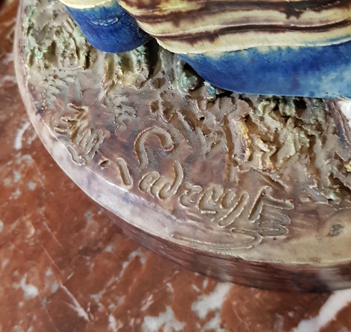 Paire De Statues Signées Achille Barbizet d'Après Palissy Couple Italiens-photo-5