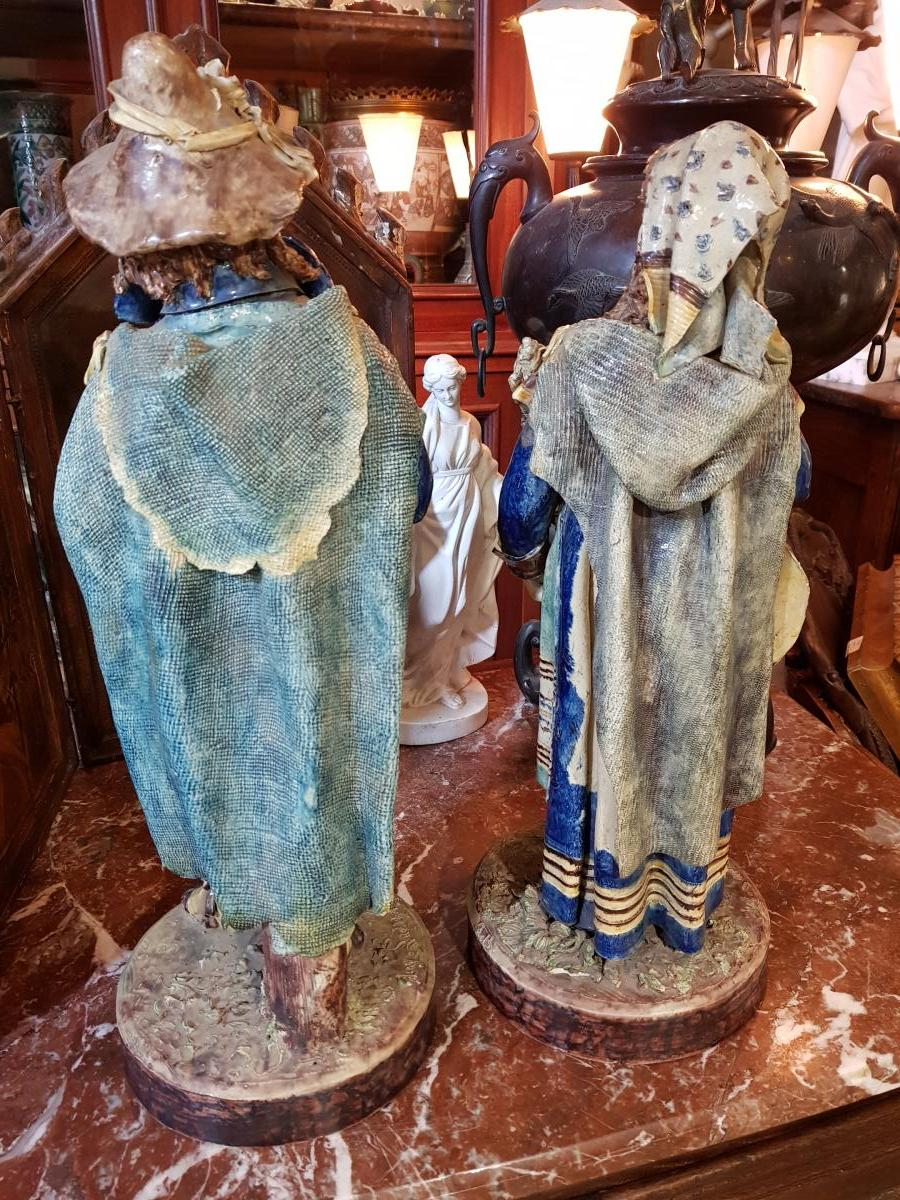 Paire De Statues Signées Achille Barbizet d'Après Palissy Couple Italiens-photo-6