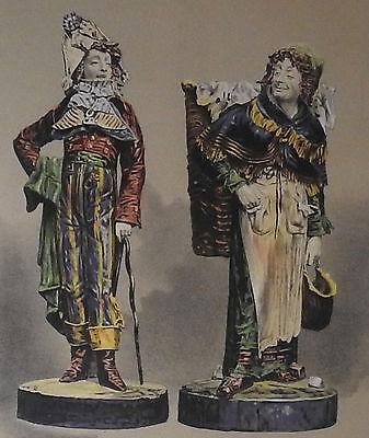 Paire De Statues Signées Achille Barbizet d'Après Palissy Couple Italiens-photo-8