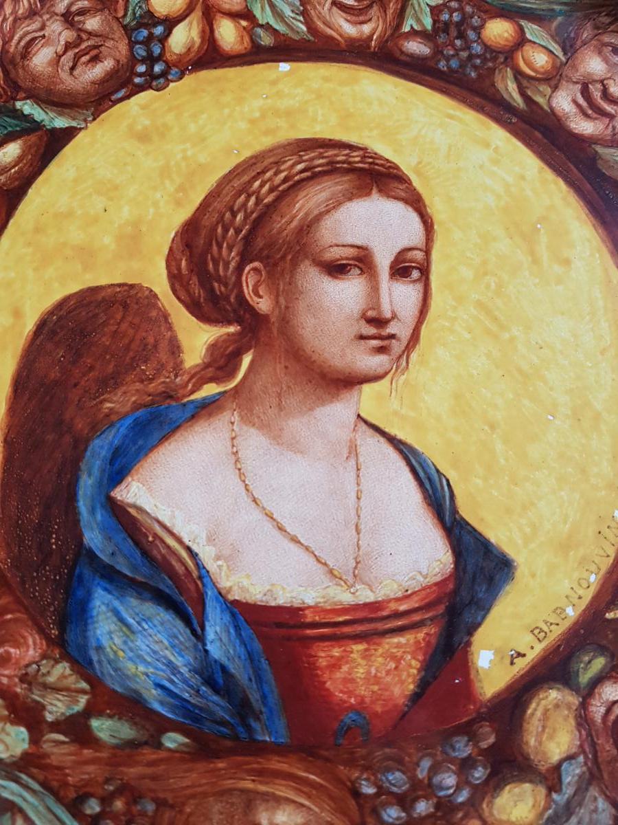 Plaque En Faience De Hb Choisy Decor Néo Renaissance Portrait Et Grotesques-photo-2