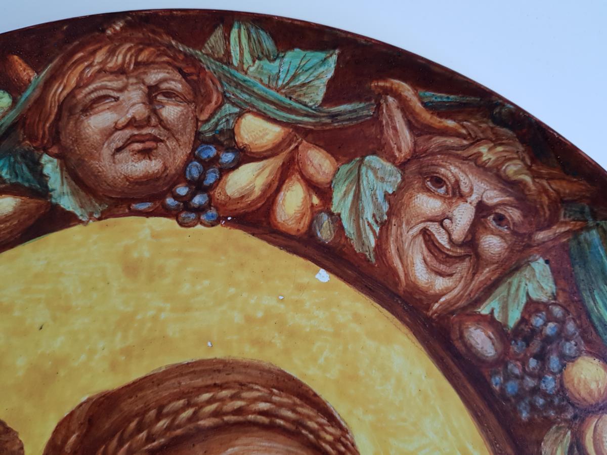 Plaque En Faience De Hb Choisy Decor Néo Renaissance Portrait Et Grotesques-photo-3