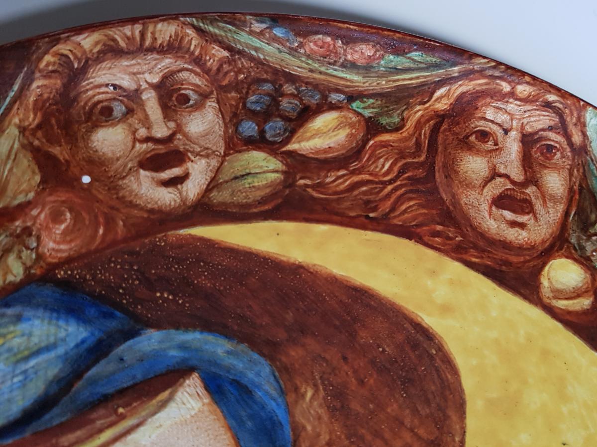 Plaque En Faience De Hb Choisy Decor Néo Renaissance Portrait Et Grotesques-photo-4