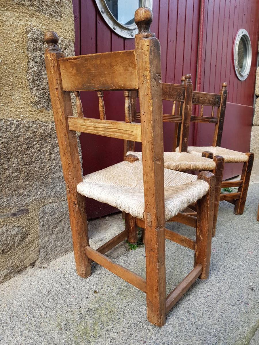 Série De 4 Chaises Espagnoles 17ème Haute Epoque Paillées-photo-3