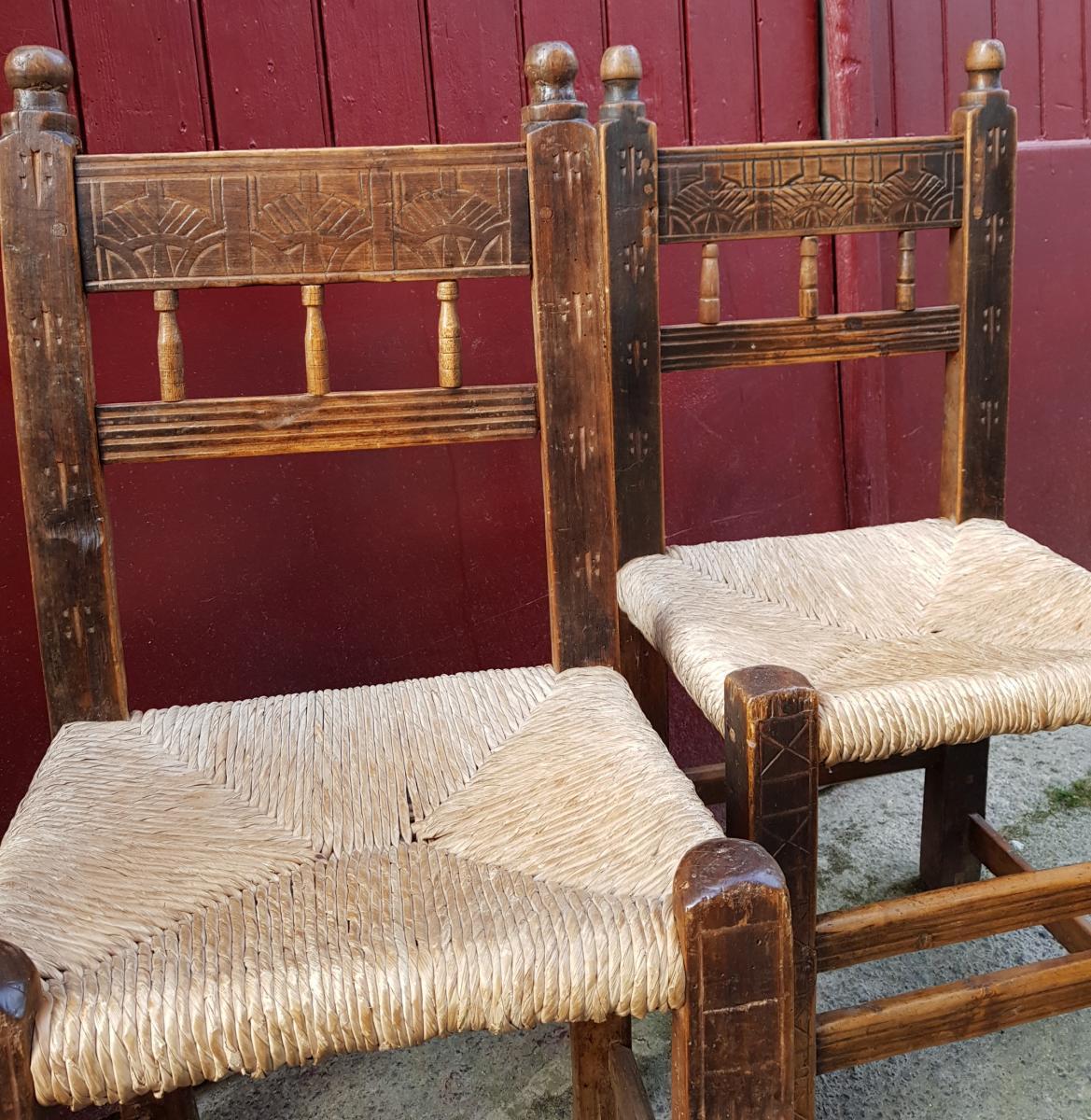 Série De 4 Chaises Espagnoles 17ème Haute Epoque Paillées-photo-5
