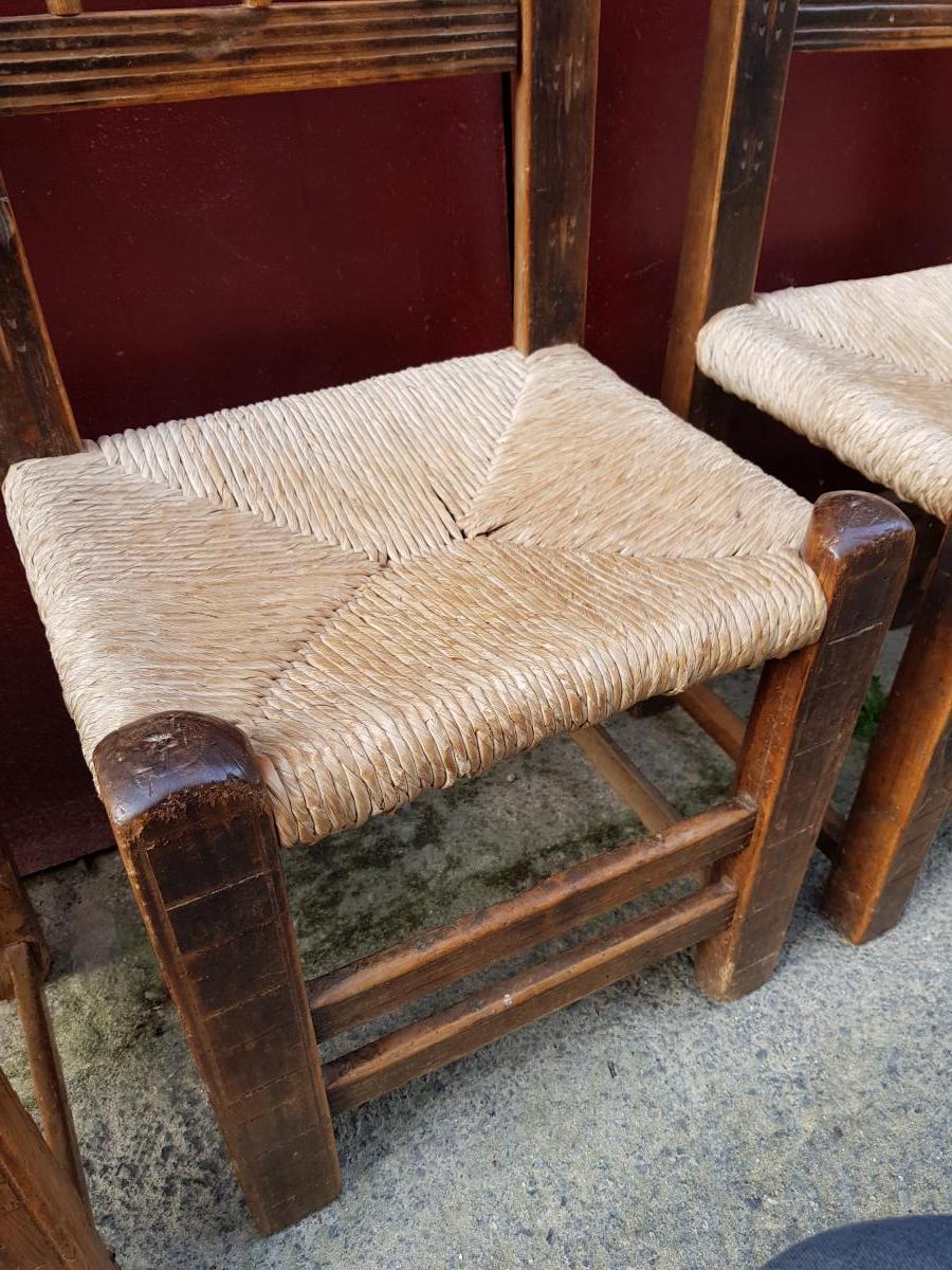 Série De 4 Chaises Espagnoles 17ème Haute Epoque Paillées-photo-8