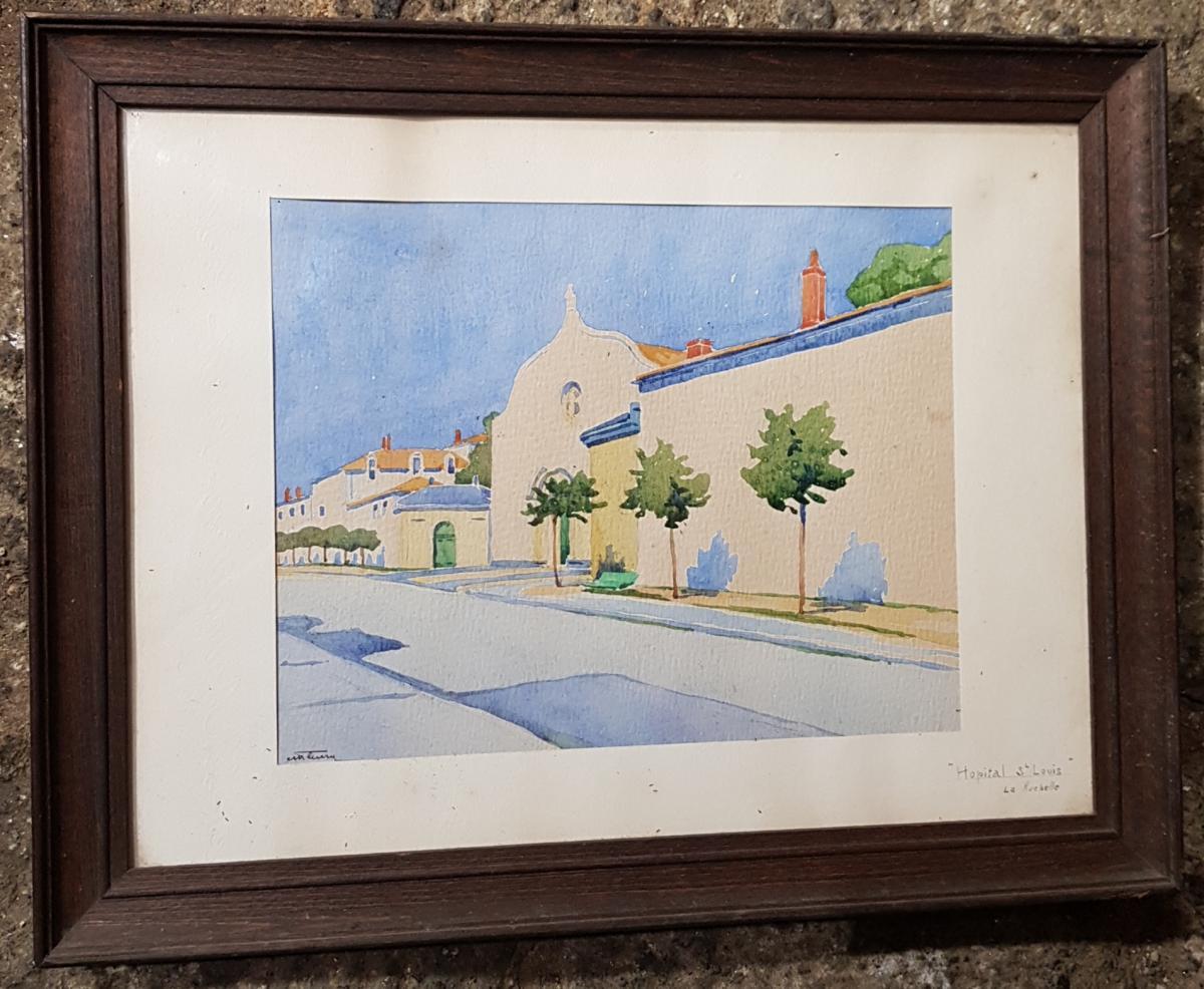 Aquarelle Vers 1930 La Rochelle Représentant l'Hopital Saint Louis Signé