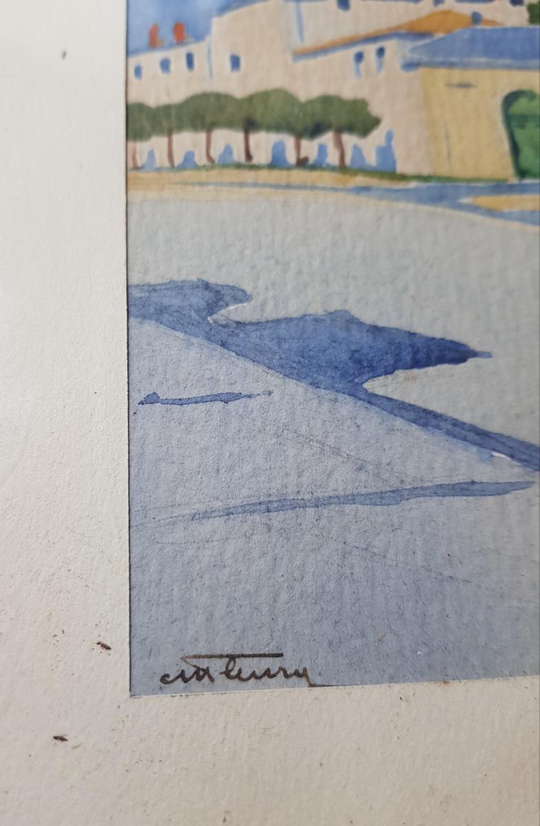 Aquarelle Vers 1930 La Rochelle Représentant l'Hopital Saint Louis Signé-photo-3