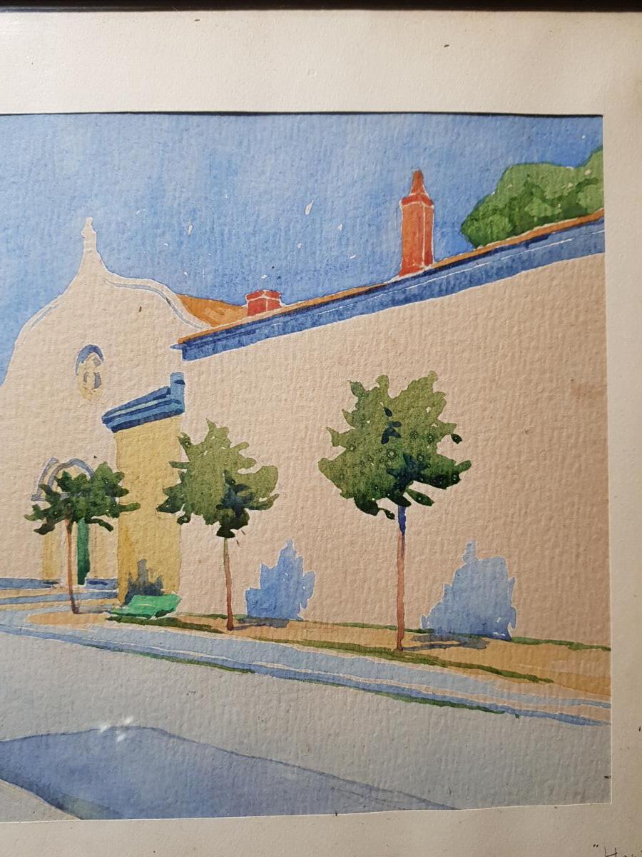 Aquarelle Vers 1930 La Rochelle Représentant l'Hopital Saint Louis Signé-photo-1