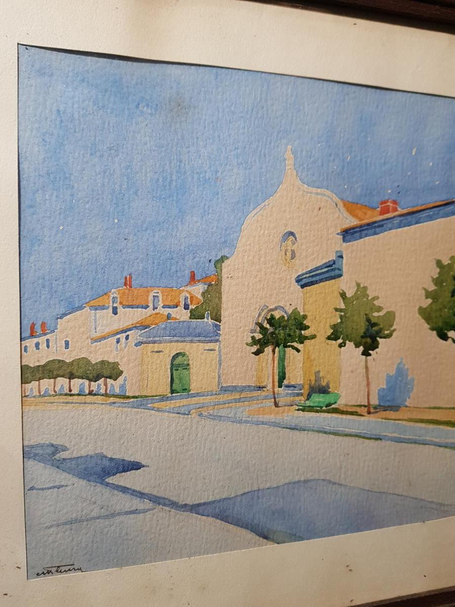 Aquarelle Vers 1930 La Rochelle Représentant l'Hopital Saint Louis Signé-photo-2