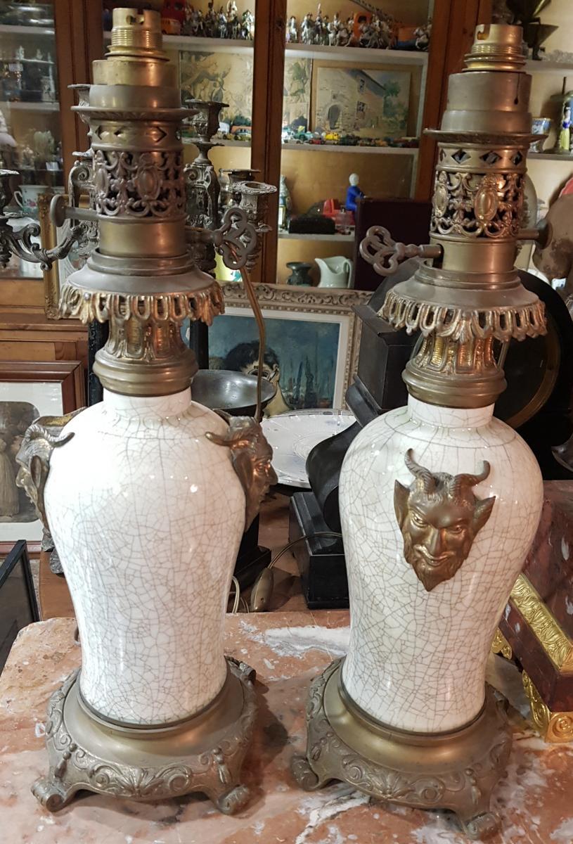 Paire De Lampes Chinoisante Ou Japonisante Decor Satanique Napoléon III Porcelaine De Chine-photo-2