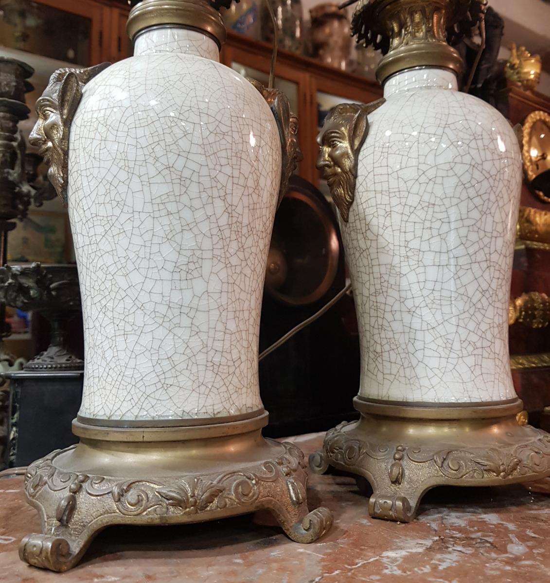 Paire De Lampes Chinoisante Ou Japonisante Decor Satanique Napoléon III Porcelaine De Chine-photo-3