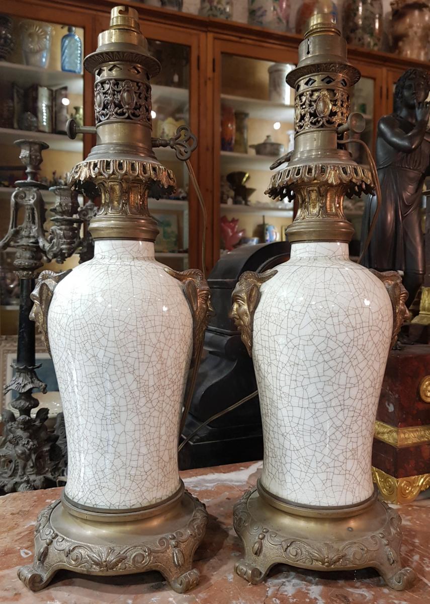 Paire De Lampes Chinoisante Ou Japonisante Decor Satanique Napoléon III Porcelaine De Chine-photo-5