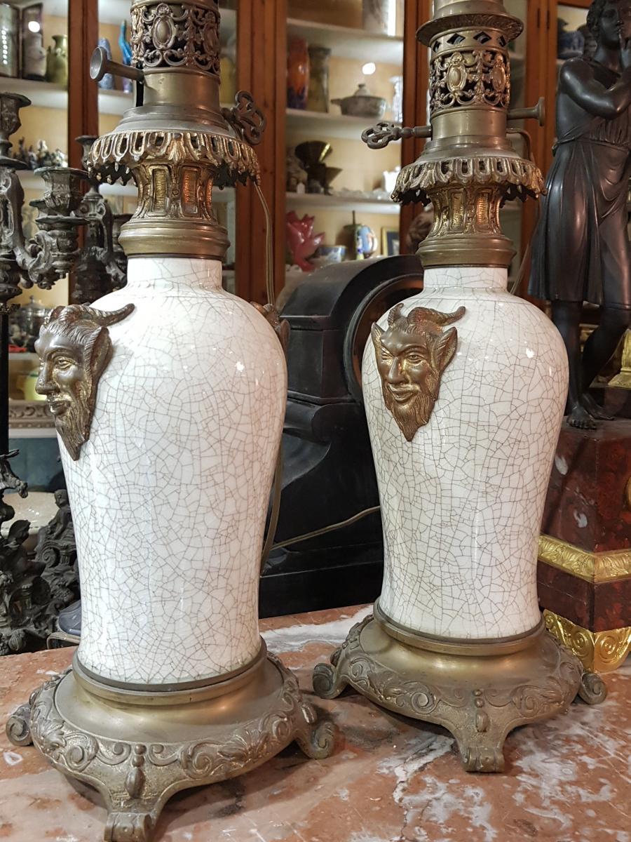 Paire De Lampes Chinoisante Ou Japonisante Decor Satanique Napoléon III Porcelaine De Chine-photo-7