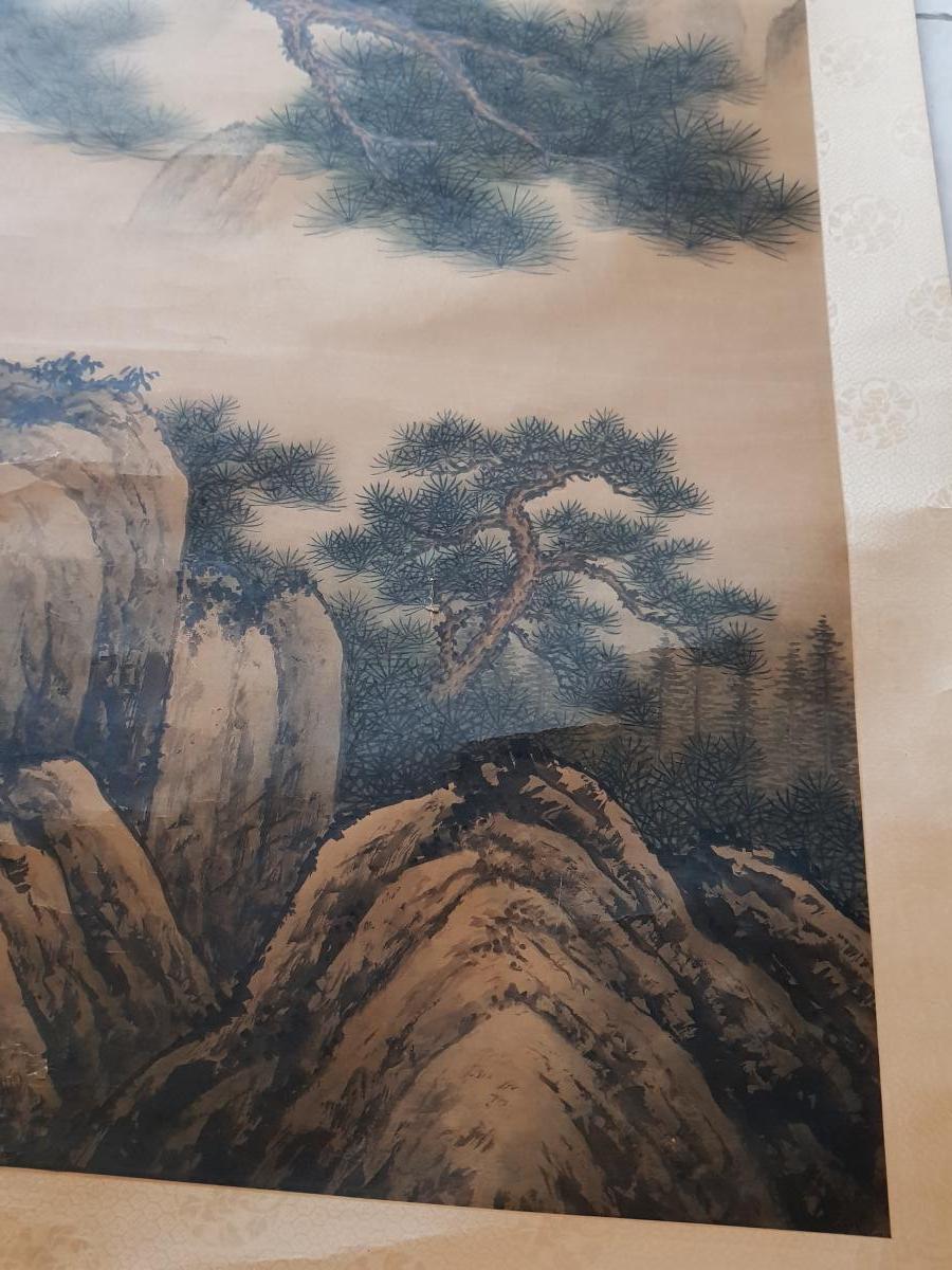 Grande Peinture Chinoise Ou Japonaise En Rouleau Le Grand Pin Majestueux-photo-4