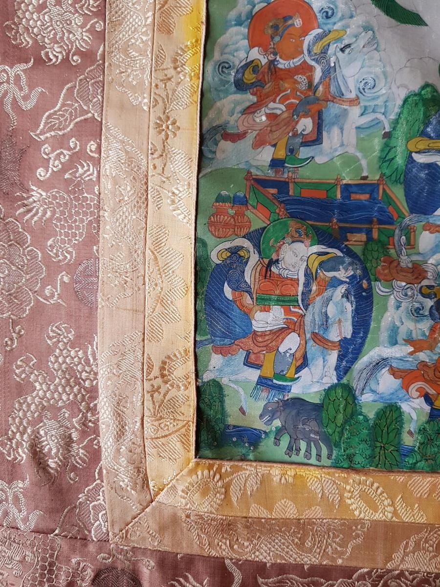 Grand Tangka/thangka Tibetain Représentant Vaishravana Monté Sur Soie Chine-photo-2