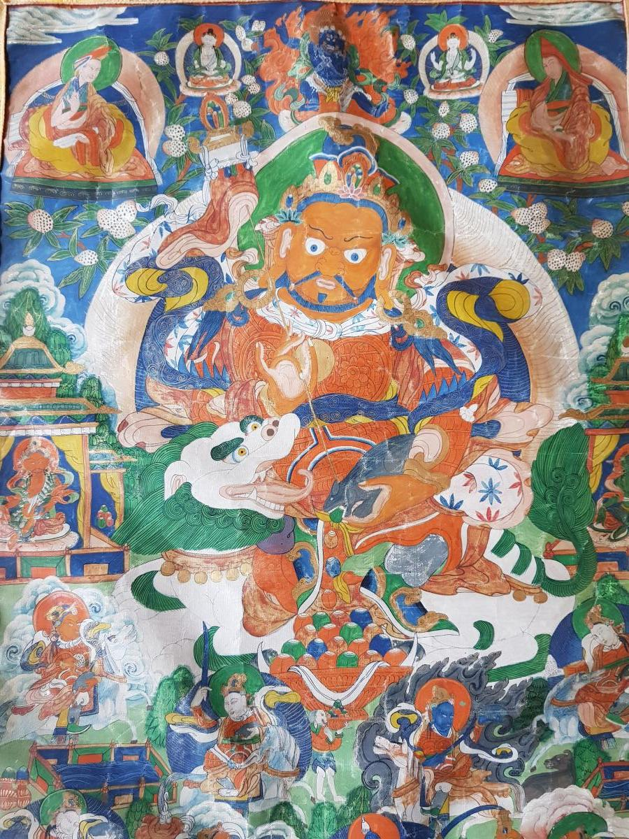 Grand Tangka/thangka Tibetain Représentant Vaishravana Monté Sur Soie Chine-photo-4