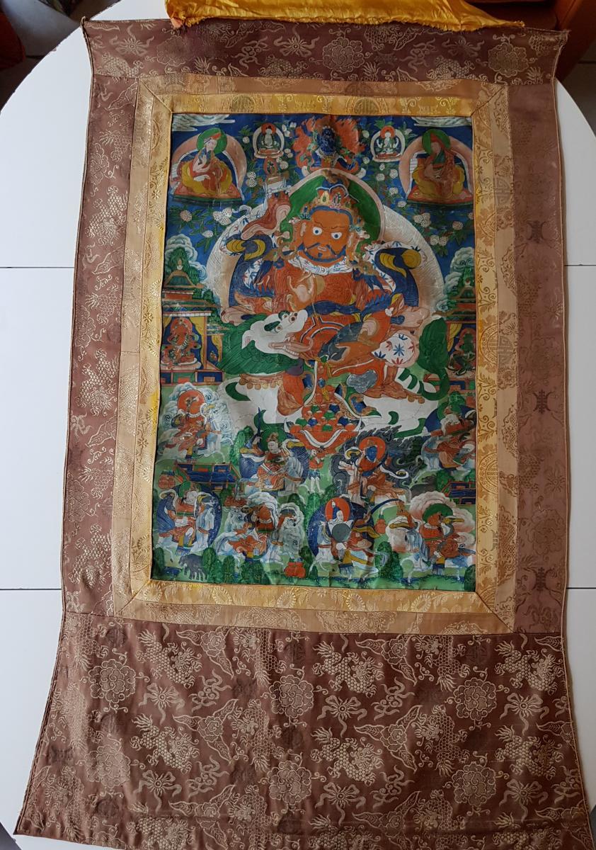 Grand Tangka/thangka Tibetain Représentant Vaishravana Monté Sur Soie Chine-photo-8
