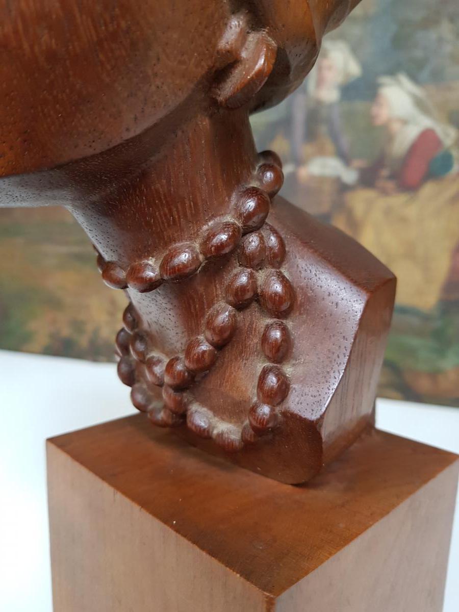 Sculpture Africaniste Vers 1920-1930 En Acajou Sculpté Signée Ramos-photo-2