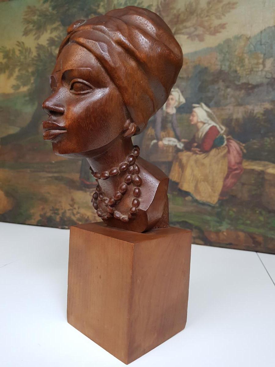 Sculpture Africaniste Vers 1920-1930 En Acajou Sculpté Signée Ramos-photo-3