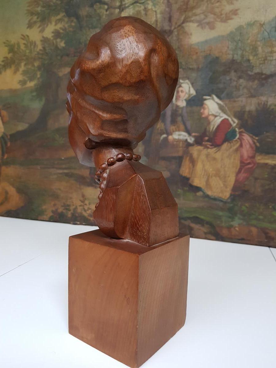 Sculpture Africaniste Vers 1920-1930 En Acajou Sculpté Signée Ramos-photo-4