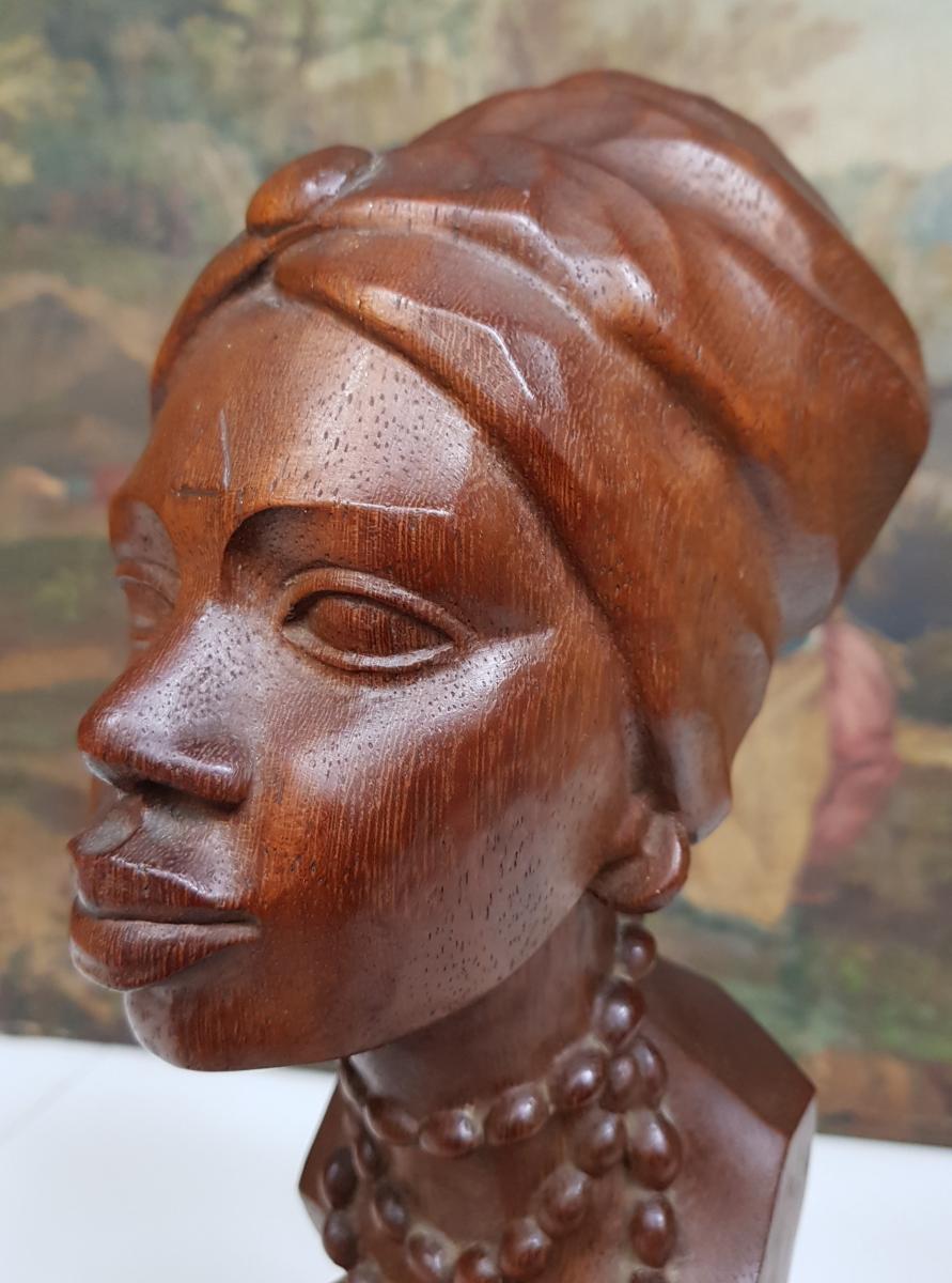 Sculpture Africaniste Vers 1920-1930 En Acajou Sculpté Signée Ramos-photo-6