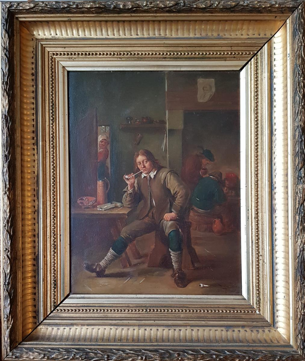 Smoking Table Leaning At A Table After David Teniers By Henri Pauvert (1864-1951)-photo-2
