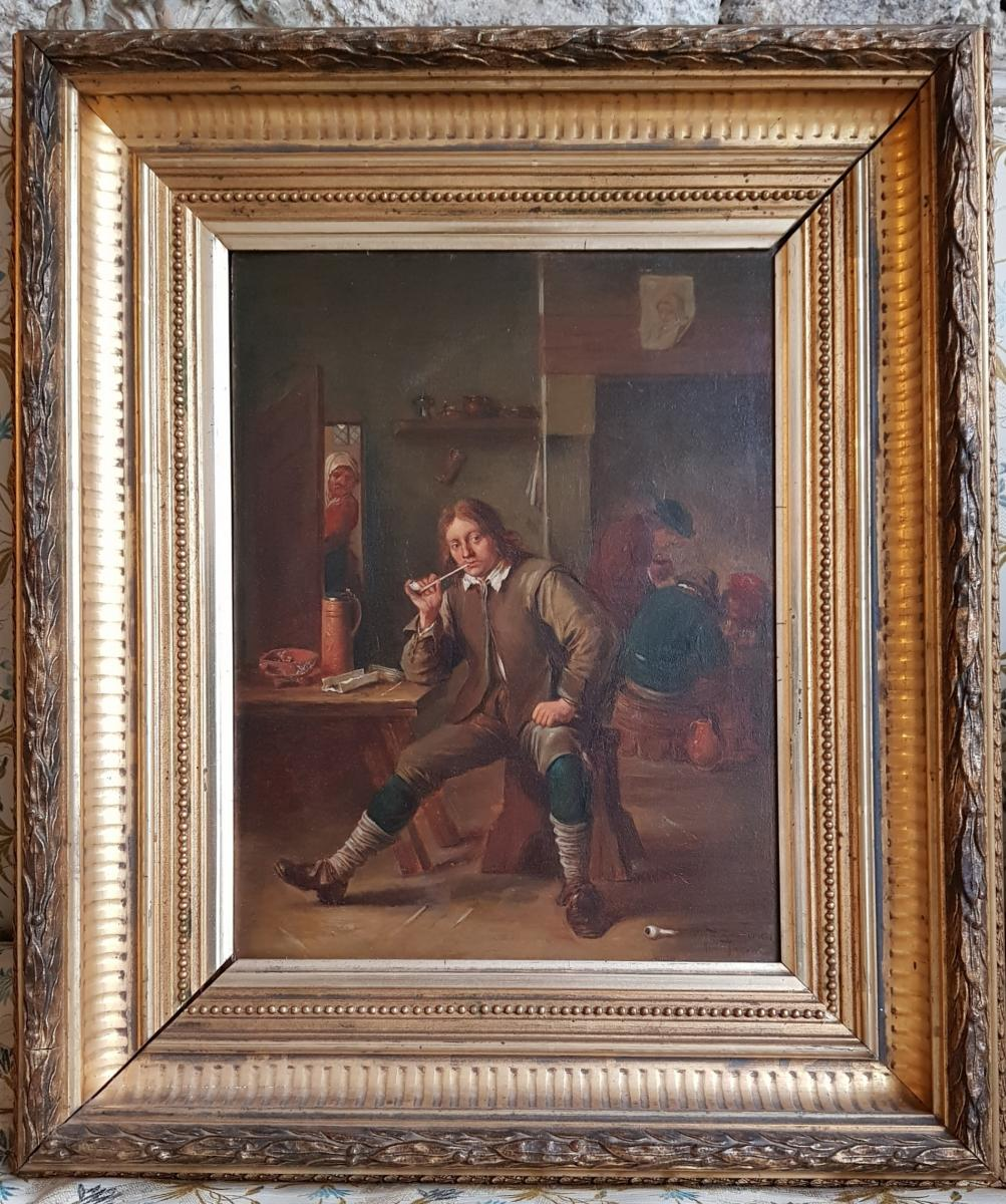 Smoking Table Leaning At A Table After David Teniers By Henri Pauvert (1864-1951)-photo-3