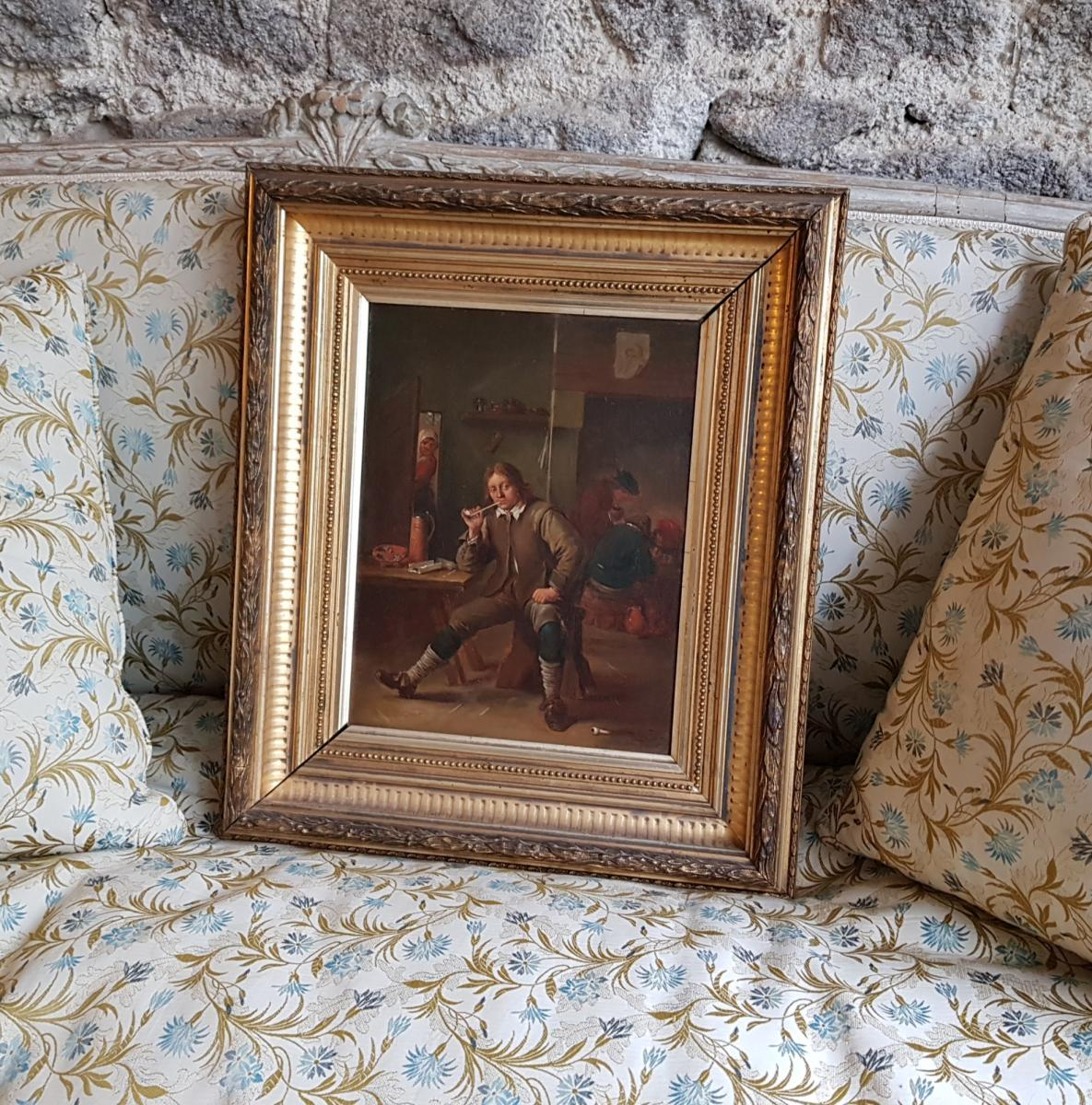 Smoking Table Leaning At A Table After David Teniers By Henri Pauvert (1864-1951)-photo-1