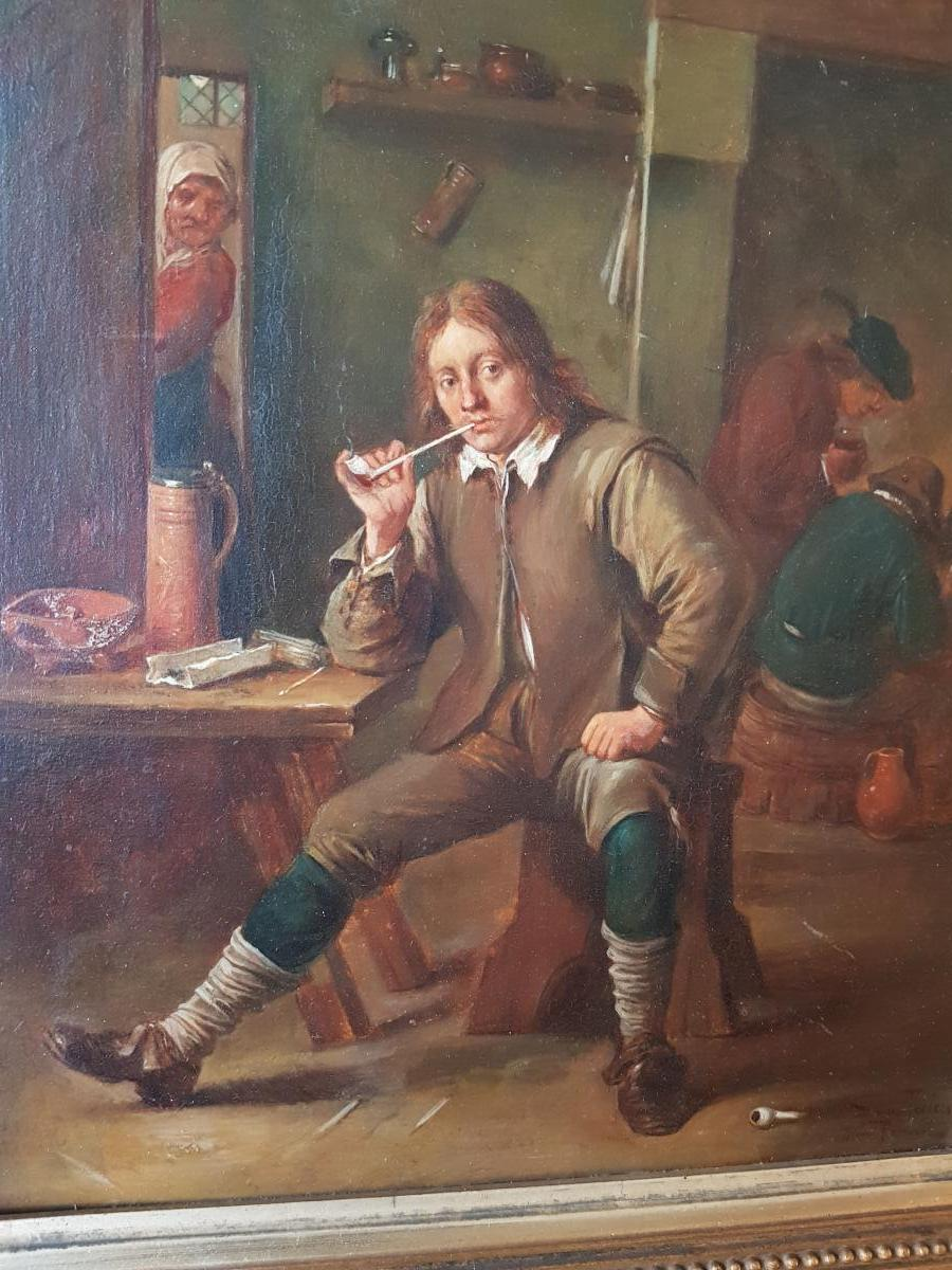 Smoking Table Leaning At A Table After David Teniers By Henri Pauvert (1864-1951)-photo-5