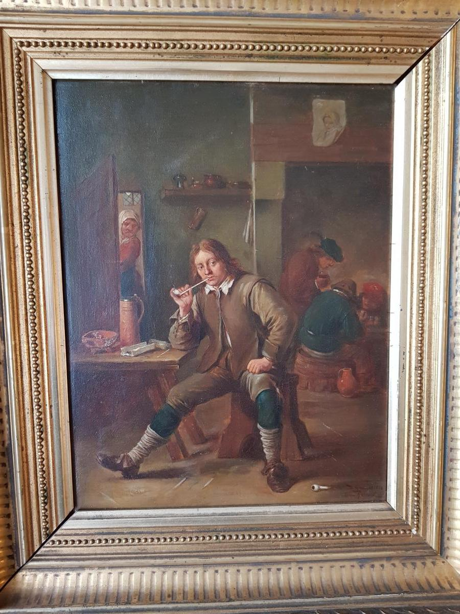 Smoking Table Leaning At A Table After David Teniers By Henri Pauvert (1864-1951)-photo-6