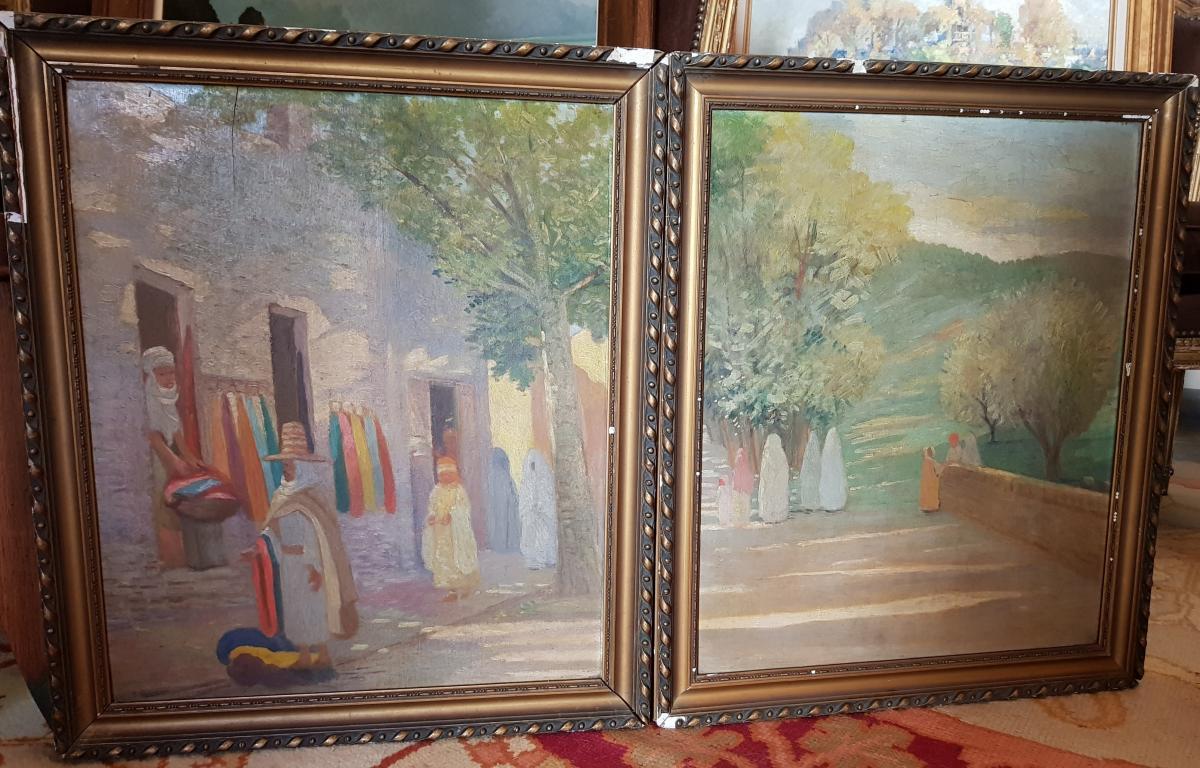 Paire De Tableaux Orientalistes Afrique Du Nord Signés M.Cohen -photo-2