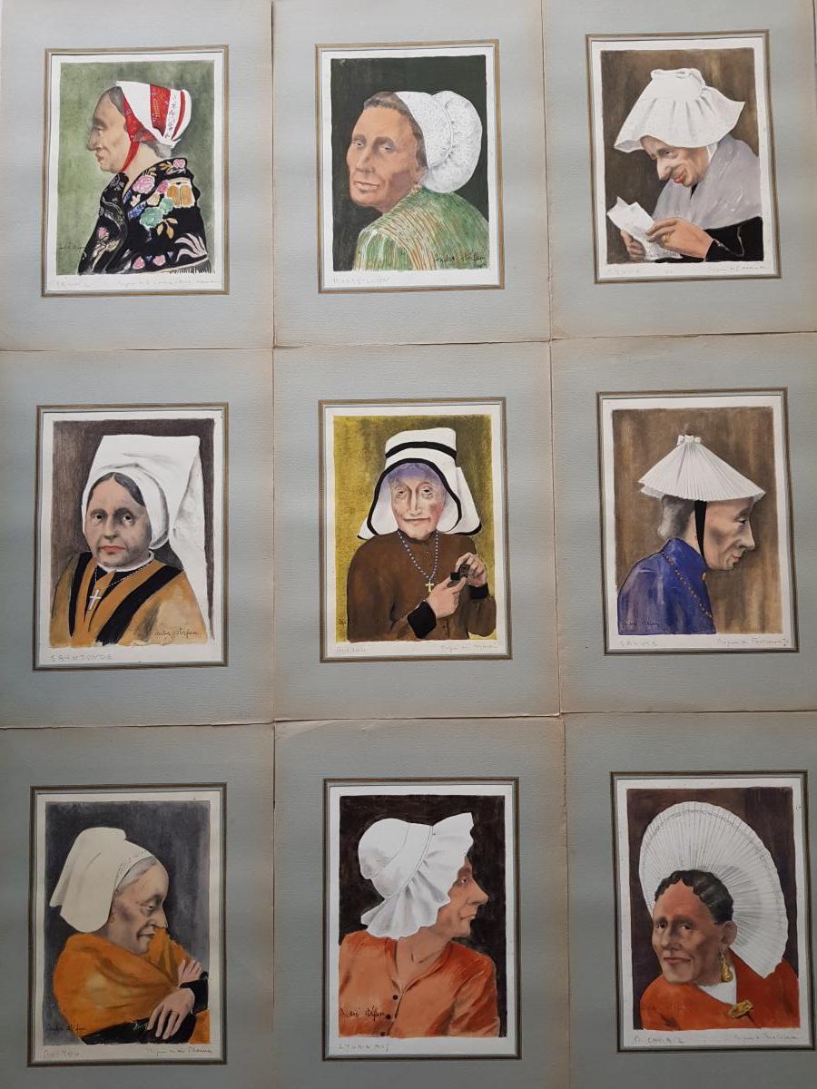 Lot De 39 Aquarelles Coiffes Et Coiffures Françaises André Stéfan Vers 1940-photo-4