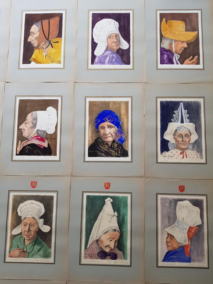 Lot De 39 Aquarelles Coiffes Et Coiffures Françaises André Stéfan Vers 1940-photo-1
