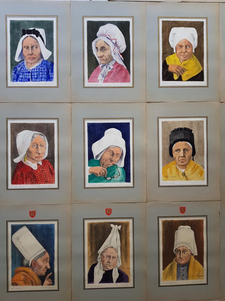 Lot De 39 Aquarelles Coiffes Et Coiffures Françaises André Stéfan Vers 1940-photo-2