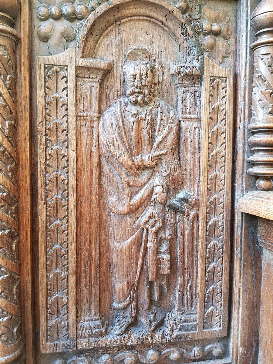 Banc Coffre St. Haute époque Panneaux Saint Paul,pierre Et Catherine d'Alexandrie. -photo-4