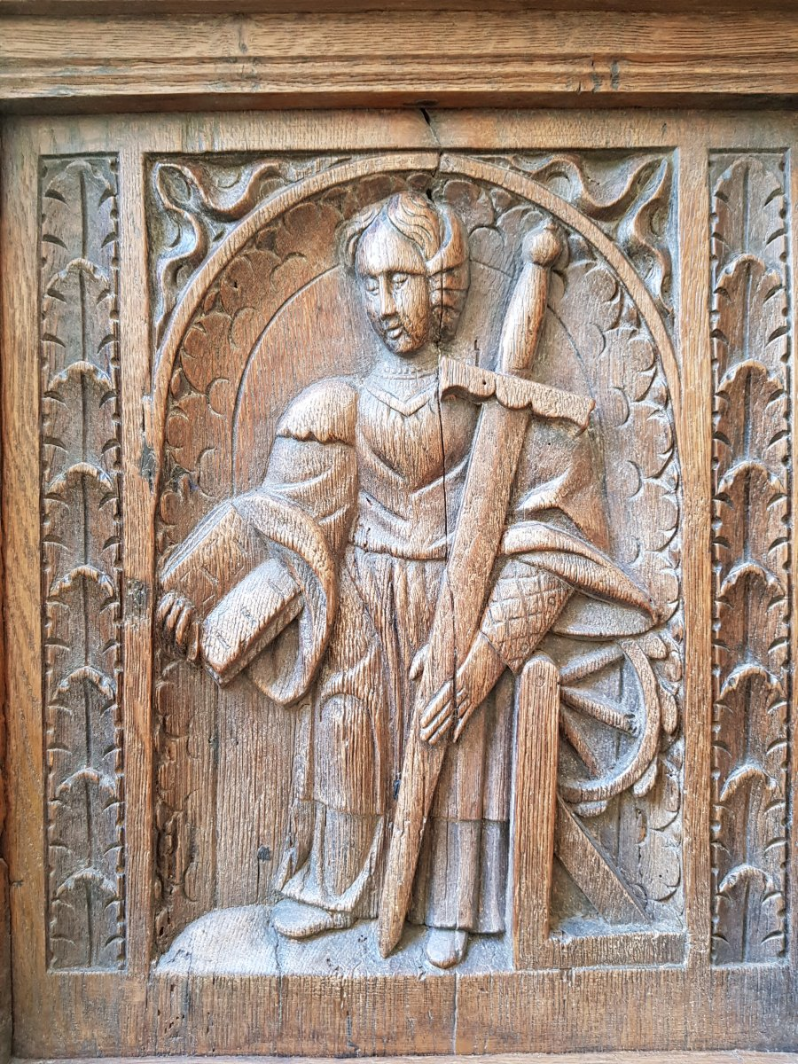 Banc Coffre St. Haute époque Panneaux Saint Paul,pierre Et Catherine d'Alexandrie. -photo-1