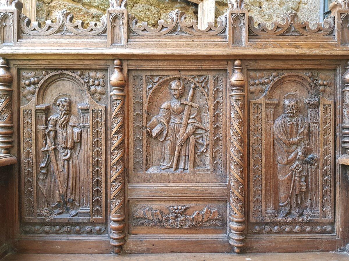 Banc Coffre St. Haute époque Panneaux Saint Paul,pierre Et Catherine d'Alexandrie. -photo-2