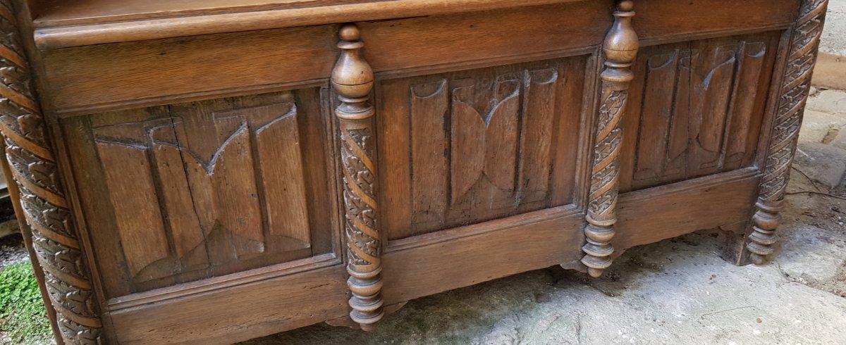 Banc Coffre St. Haute époque Panneaux Saint Paul,pierre Et Catherine d'Alexandrie. -photo-5