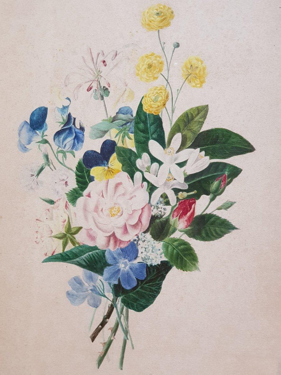 Lot De 3 Aquarelles Botaniques Signées  Bouquets De Fleurs Et Roses-photo-3