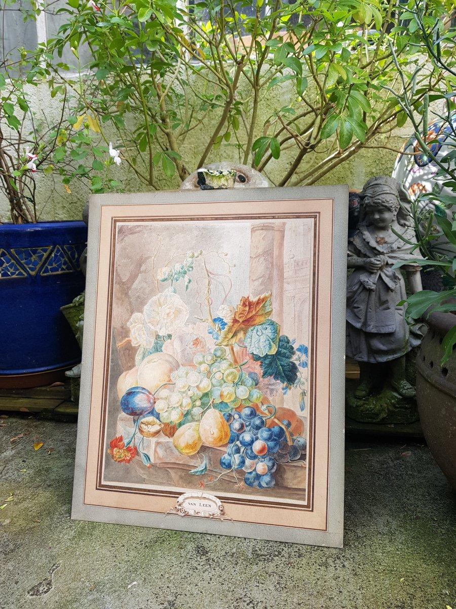 Aquarelle De Willem Van Leen (1753-1825) Fleurs,fruits Et Ruines Antiques.-photo-2